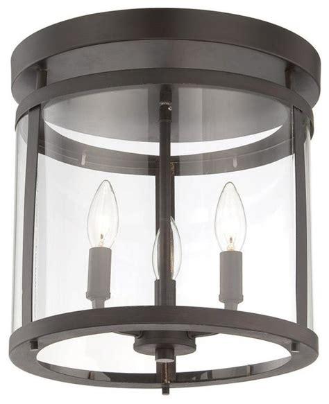 three light bronze clear glass drum shade semi