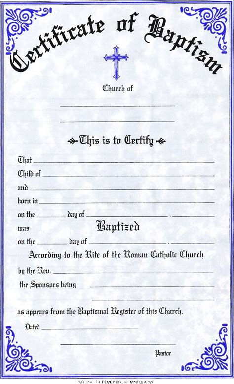 catholic baptism certificate template church certificates and forms