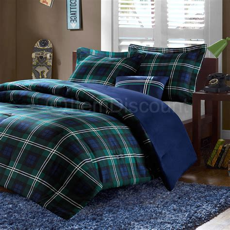 twin blue green plaid comforter set reversible