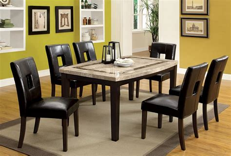 Dining Room Sets With Fabric Chairs by Lisbon Marble Top Dining Table Set