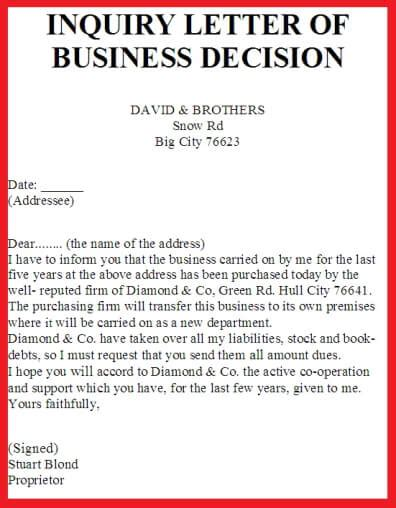 inquiry letter of business decision exles of business