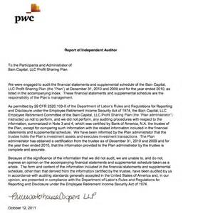 Audit opinion by pricewaterhouse coopers