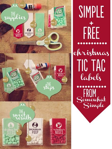 tic tac christmas labels  printable  simple