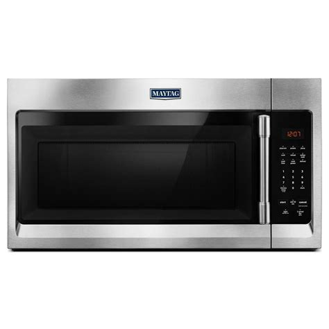 multifunction microwave oven stainless steel maytag 30 in w 1 7 cu ft over the range microwave hood
