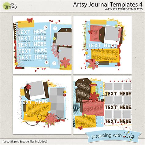 digital scrapbook template artsy journal 4 scrapping