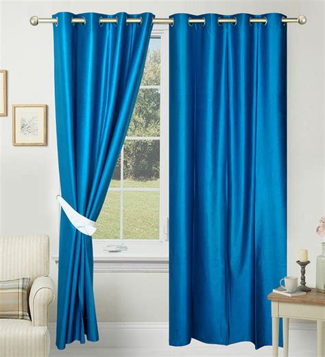 buy blue curtains buy azaani blue polyester 84 x 48 inch solid eyelet door