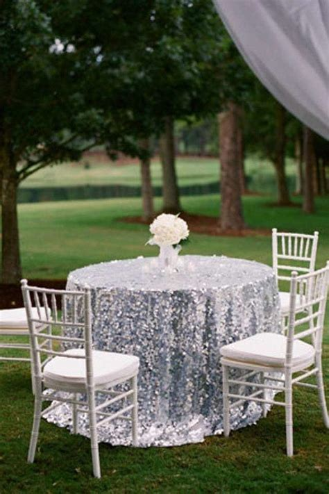 "Silver Sequin 108"" TableCloth Silver Sequin Cake Table"
