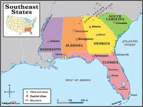 map of south east southeastern states map by maps from maps world