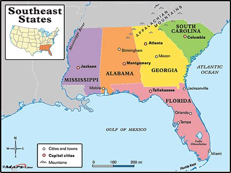 southeastern united states map southeastern states map by maps from maps world
