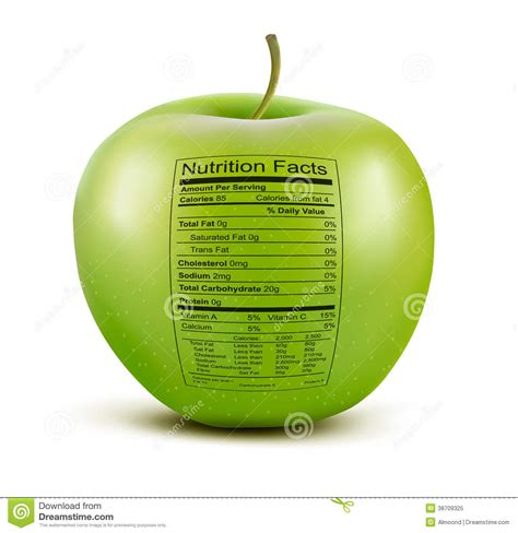 apple calories apple with nutrition facts label stock vector image