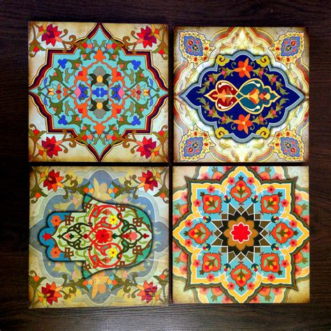 moroccan pattern wall art hamsa hand moroccan wall art set block set 8x8 set of 4 home