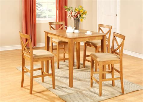 Pub Height Kitchen Table Sets 5pc Square Pub Counter Height Table Set 4 Stools Oak Ebay