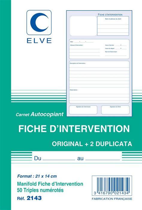 fiche d intervention carnet autocopiant tripli 210 x 140