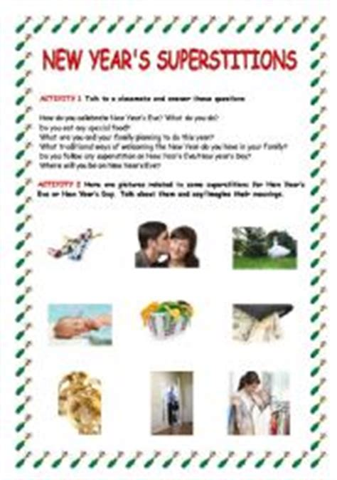 new year superstitions teaching worksheets superstitions