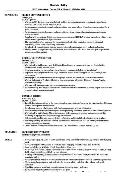 resume format for content editor content editor resume sles velvet