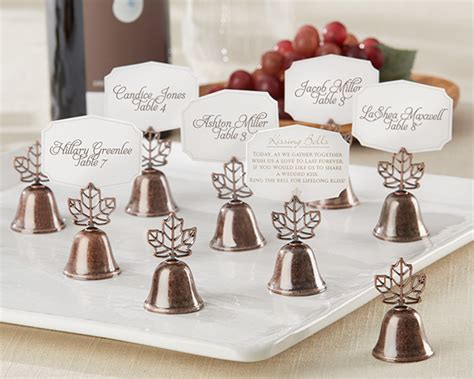 Wedding Bell Noise by Leaf Shaped Bell Place Card Photo Holder Set Of