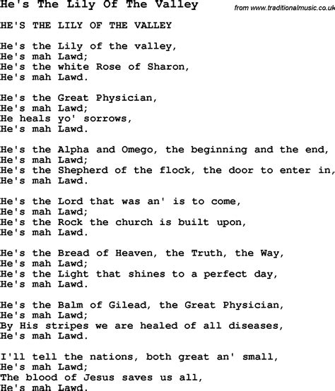 song of velly negro spiritual song lyrics for he s the of the