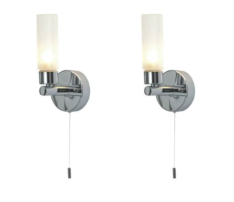 Bathroom Light Switch Cord Pair Of Modern Chrome Ip44 Bathroom Wall Light With Pull Cord Switch Zone 2 3 Ebay