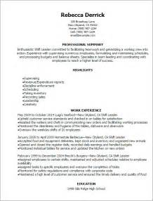 Recreation Leader Sle Resume by Professional Shift Leader Resume Templates To Showcase Your Talent Myperfectresume
