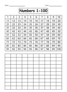 kindergarten number tracing worksheets 1 100