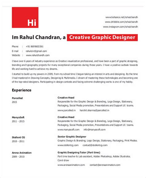 Graphic Design Resume Exles by Graphic Designer Career Objective 28 Images 4 Graphic