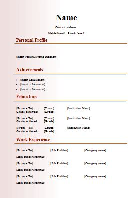 cv writing template modern cv template