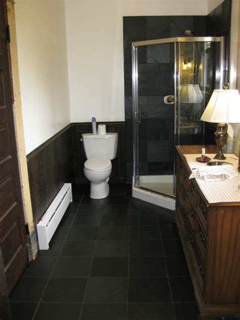 dark tile bathroom floor clipper masonry