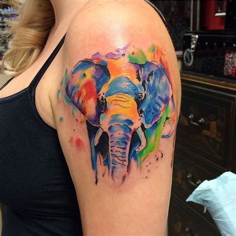 elephant tattoo with color watercolor elephant tattoo frankie oneshot ink
