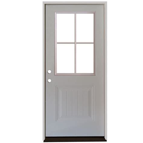 Doors Home Depot by Jeld Wen 32 In X 80 In Fan Lite Primed Premium Steel