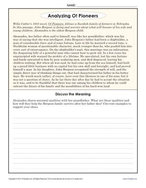8th Grade Reading Worksheets by Analyzing O Pioneers 8th Grade Reading Comprehension