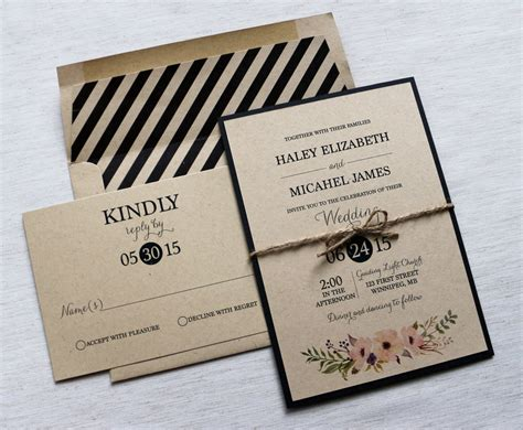 modern wedding invitations modern wedding invitation kraft wedding invitation rustic
