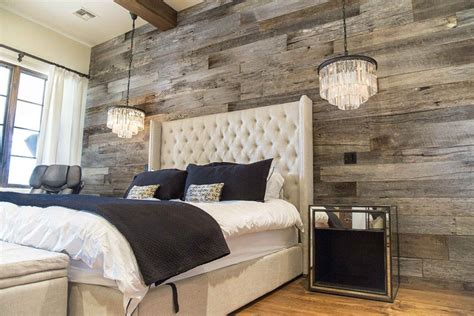 bedroom wall covering ideas tobacco barn grey wood wall covering master bedroom