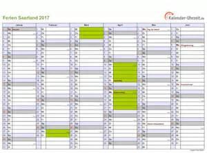 Kalender 2018 Saarland Ferien Saarland 2017 Ferienkalender Zum Ausdrucken
