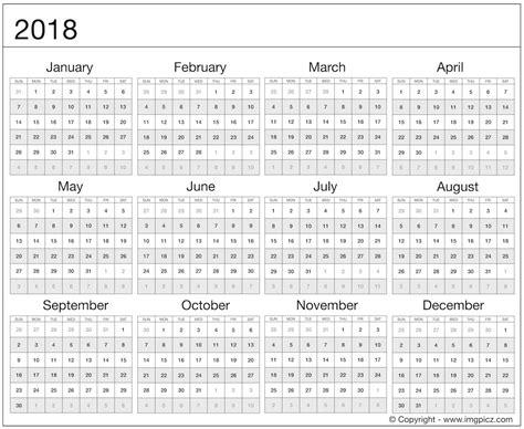 printable calendar year at a glance 2018 2018 year at a glance best calendar 2018 template