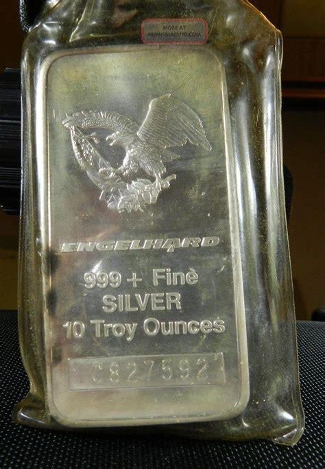 1 oz silver bar engelhard eagle design engelhard 10 troy oz 999 silver commercial bar 1986