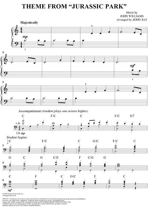 theme song jurassic world theme from jurassic park sheet music by john williams