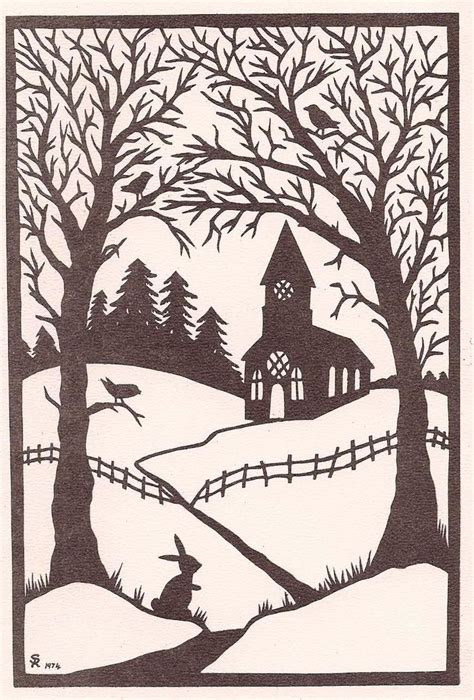 Paper Cut Winter I M - church in the woods scroll saw patterns