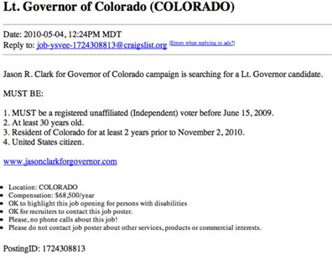 craigslist co colorado gubernatorial candidate seeks running mate on