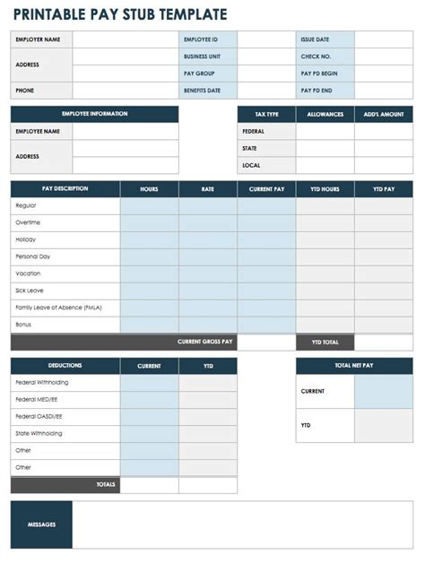 Free Pay Stub Templates Smartsheet Pay Stub Template Docs