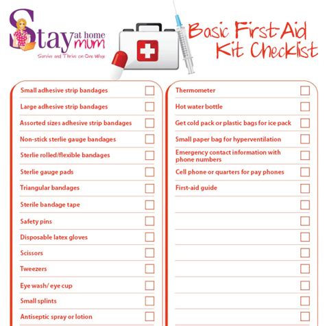 Basic First Aid Check List Stay At Home Mum Aid Kit Checklist Template