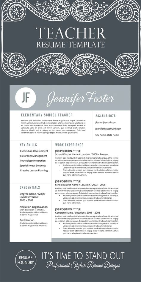 Teachers Resume Template by 46 Best Resumes Images On