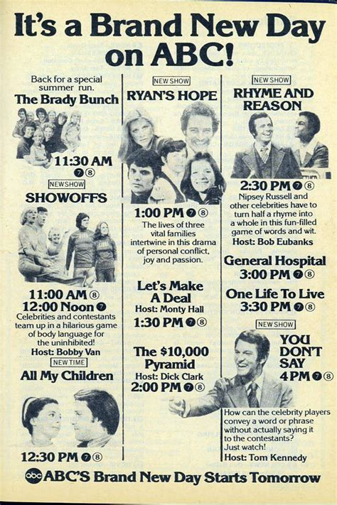 day tv guide it s a brand new day on abc abc tv 1975 daytime