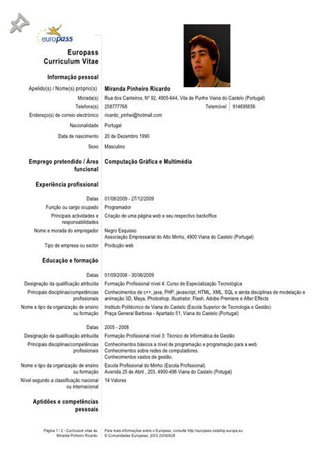 Modelo Europeu Curriculum Vitae Em Inglês Europass Cv Ricardo Pinheiro