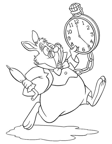 alice in wonderland rabbit coloring pages