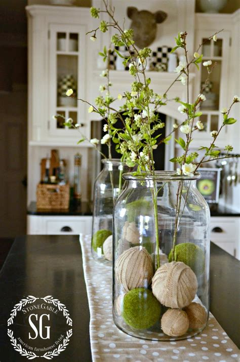 farmhouse spring island vignette thanksgiving kitchen farmhouse spring island vignette runners jars and happy