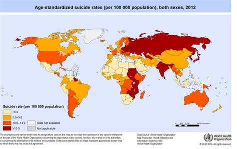 nel mondo internazionale 187 il tasso di suicidi nel mondo in un grafico