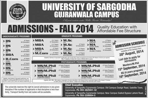5 Year Bs Mba Program by Admissions Open 2014 15 In Of Sargodha
