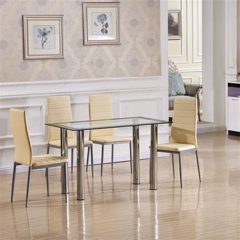 Clear Dining Room Set by Clear Glass Dining Table Set With 4 White Faux