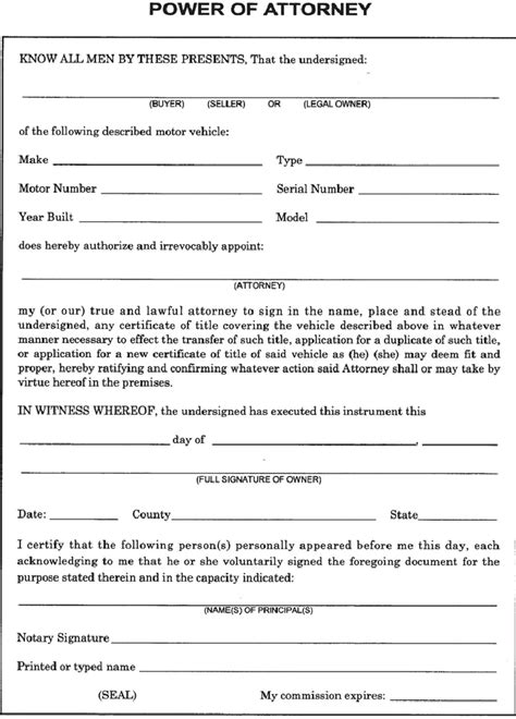 power of attorney form template printable pdf excel
