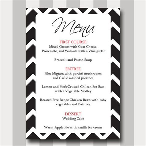simple menu template free chevron menu card diy printable template modern